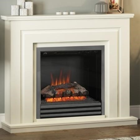 Be Modern Whitham Electric Fireplace Suite in Soft White Finish with Black Nickel Trim & Fret