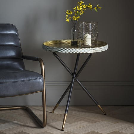 Tripod Tray Table in Black and Gold - Caspian House