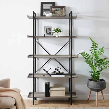 Foster Wooden Effect Bookcase with Metal Frame & 5 Shelves