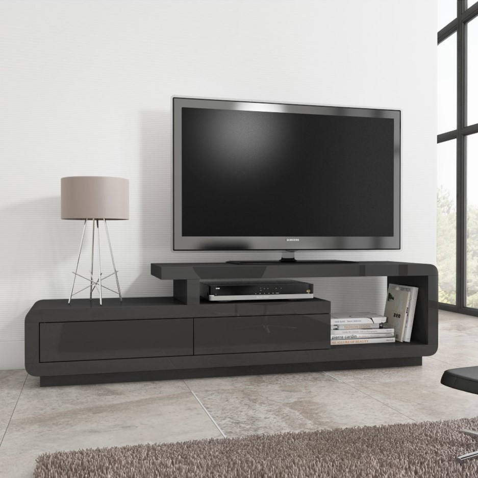 promo code c6f61 526ec Evoque Grey High Gloss TV Unit Stand with Storage Drawers