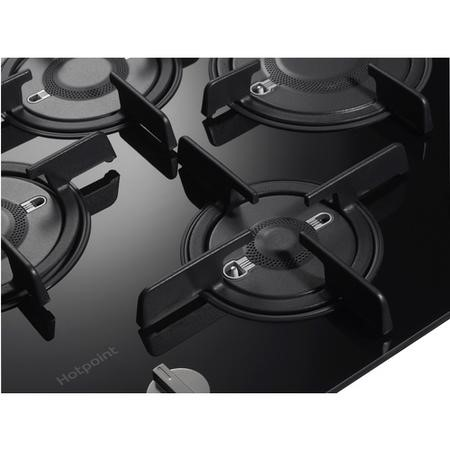 Hotpoint FTGHG641DHBK 60cm Four Burner Gas-on-glass Hob - Black