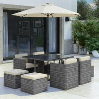 Grey Rattan 10 Piece Cube Garden Dining Set - Parasol Included