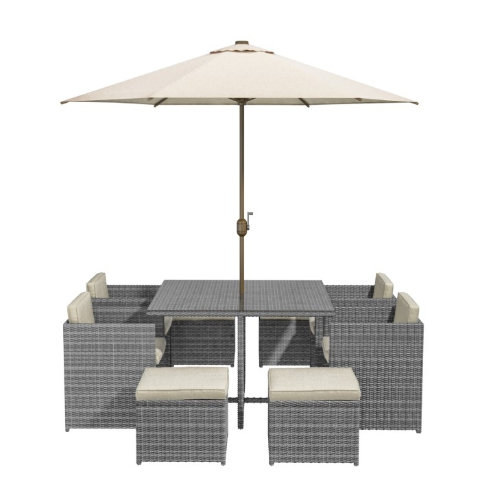 Grey Rattan 10 Piece Cube Garden Dining Set Parasol Included Buy