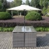 Grey Rattan 6 Piece Cube Garden Furniture Dining Set - Parasol Included