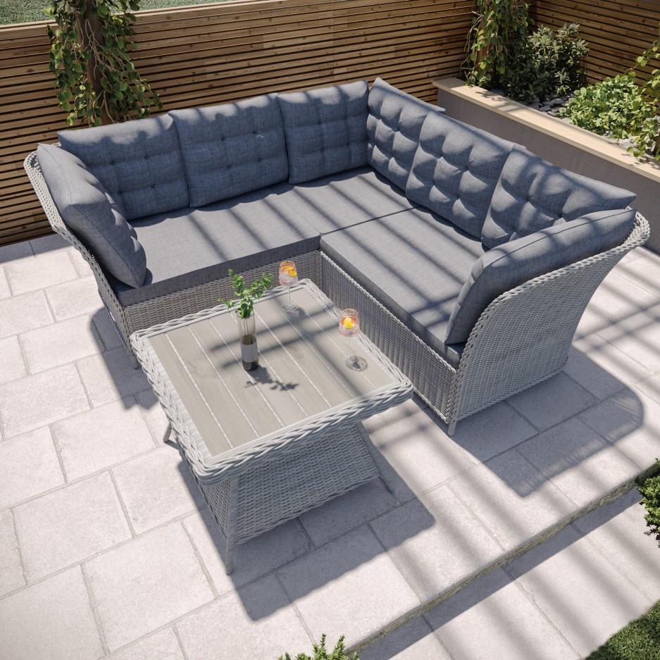 Grey Rattan Garden Furniture Set - Corner Sofa & Table ...