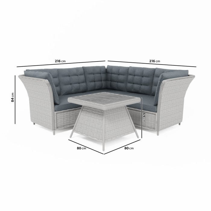 Aspen Grey Rattan Garden Furniture - Corner Sofa Table & Cushions ...
