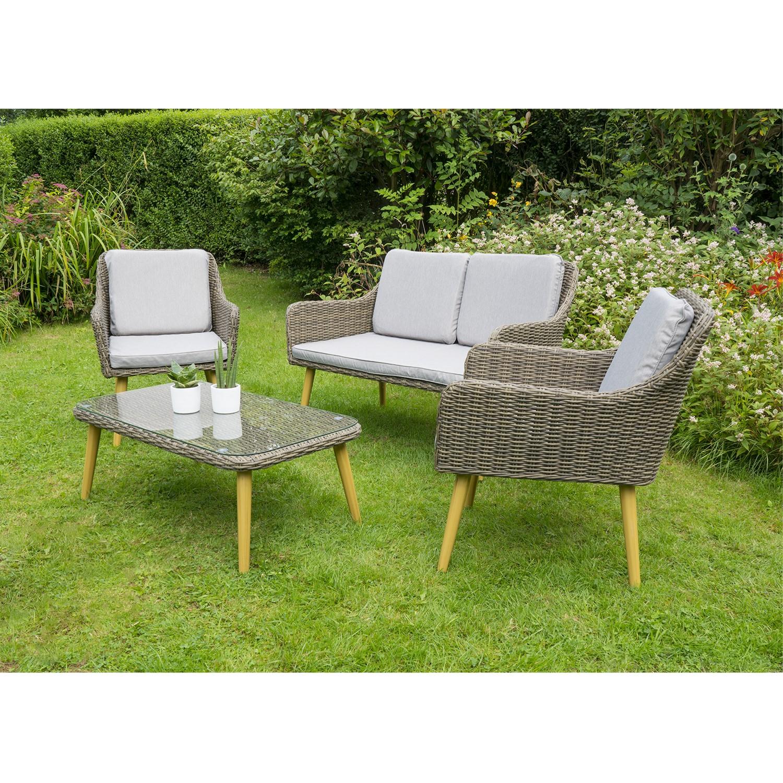 Rattan 4 Seater Garden Sofa & Table Set Aspen