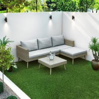 Rattan Garden Recliner Corner Sofa with Cushions & Table