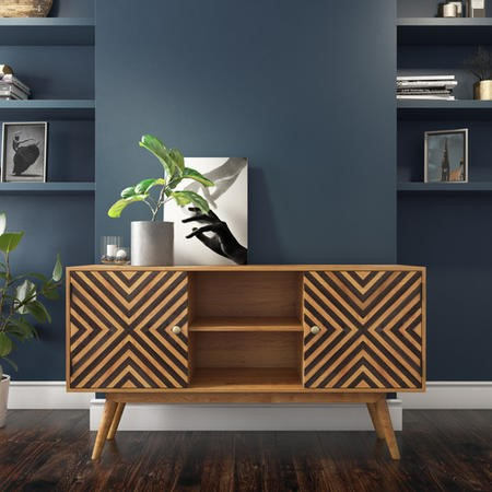 Freya Solid Wood Sideboard with Storage Cupboards - Mid Century Style