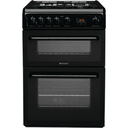 Hotpoint HAG60K 60cm Double Oven Gas Cooker - Black