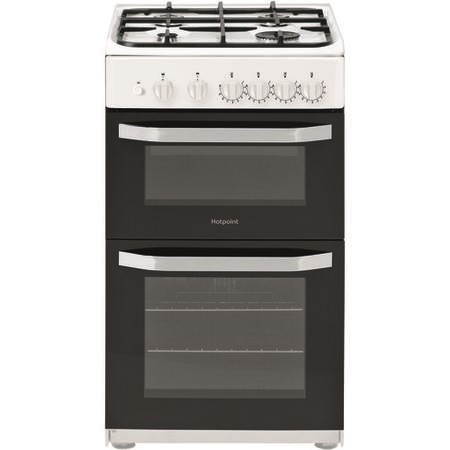HOTPOINT HD5G00KCW 50cm Double Oven Gas Cooker - White