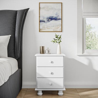 Hamilton 3 Drawer Bedside Table In Pine See More Colour Options Cream Brown White