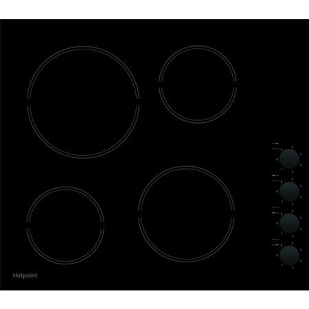 Hotpoint HR619CH 58cm Four Zone Ceramic Hob With Side Controls - Black
