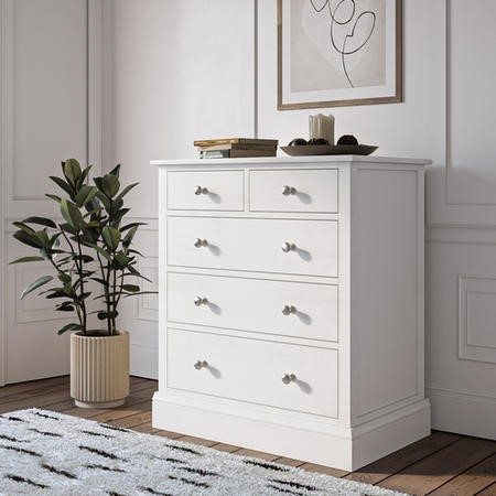Harper White Chest of Drawers - Solid Wood 2+3 Drawers