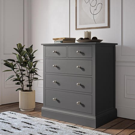 Harper Grey Solid Wood 2+3 Chest of Drawers