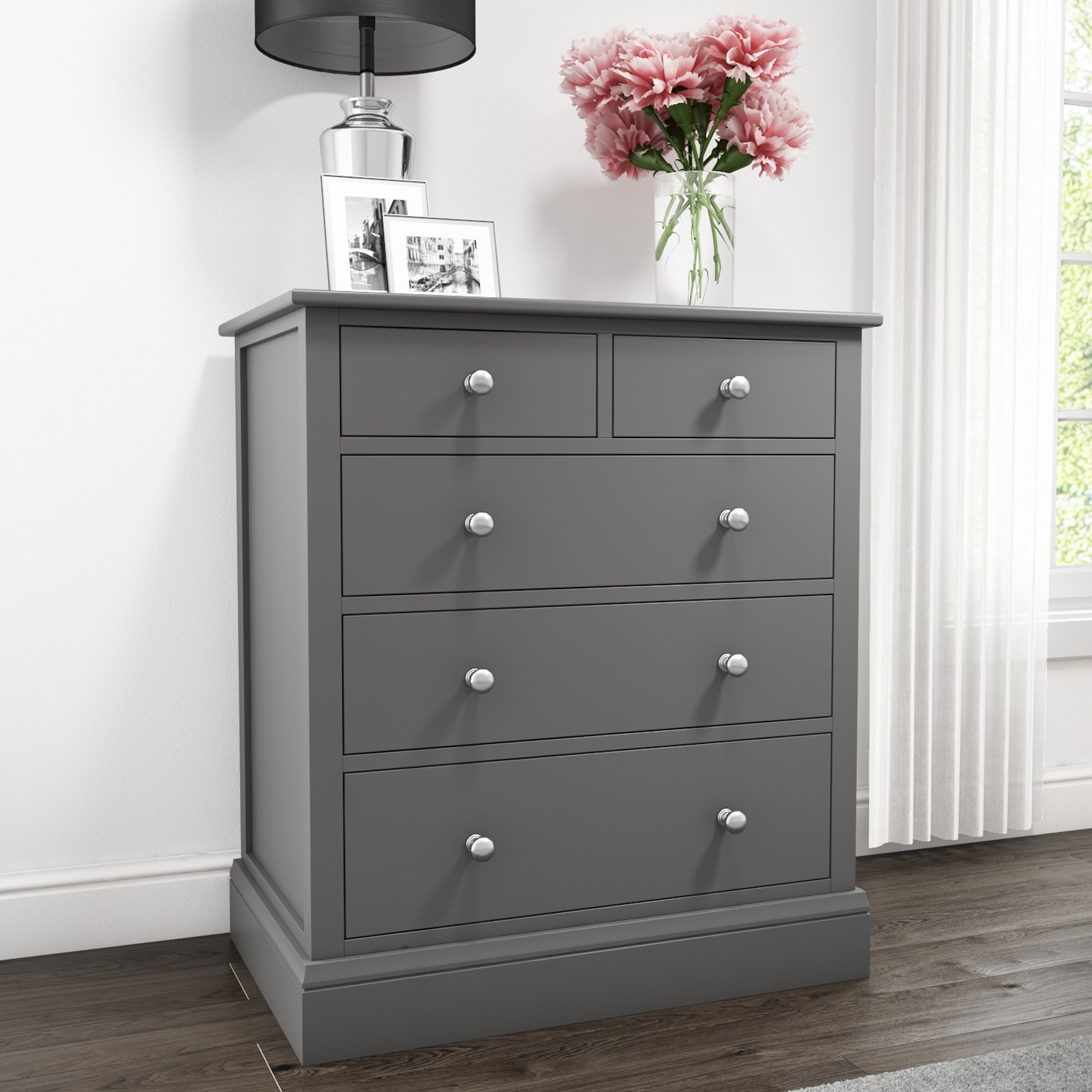Bedroom Furniture Finch 2 3 Chest Of Drawers In Light Grey Chest