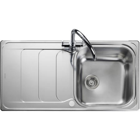 Rangemaster Houston Single Bowl Reversible Drainer Stainless Steel Chrome Kitchen Sink