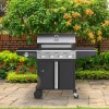 The Kentucky Premium 4 Burner Black Gas BBQ - Includes BBQ Cover and Utensils Set