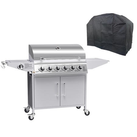The Georgia Classic 6 Burner Gas BBQ with side burners in Stainless Steel - Includes FREE BBQ Cover and Utensil Set