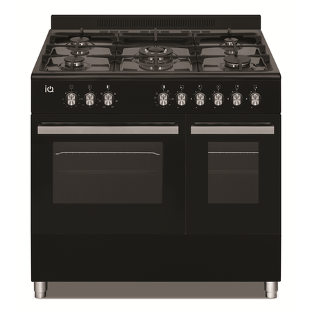 electriQ 90cm Dual Fuel Double Oven Range Cooker Black