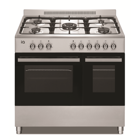 electriQ 90cm Dual Fuel Double Oven Range Cooker Stainless Steel