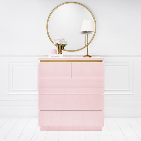 Isabella Pink Gloss 5 Drawer Chest of Drawers with Gold Trim