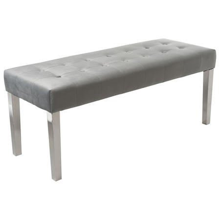 Grey Velvet Dining Bench with Chrome Legs - Jade Boutique