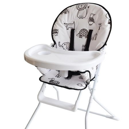 GRADE A1 - Jane Foster Lightweight Foldable Highchair with Animal Print Padded Seat