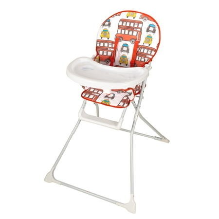 GRADE A1 - Baby High Chair with Bus Print Padded Seat by Jane Foster