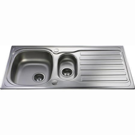 CDA 1.5 Bowl Reversible Drainer Stainless Steel Chrome Kitchen Sink