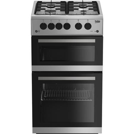 Beko KDG582S 50 cm Twin Cavity Gas Cooker - Silver