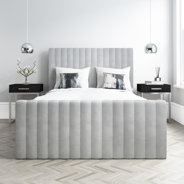 Khloe Double Side Ottoman Bed In Silver Grey Velvet Buyitdirect Ie