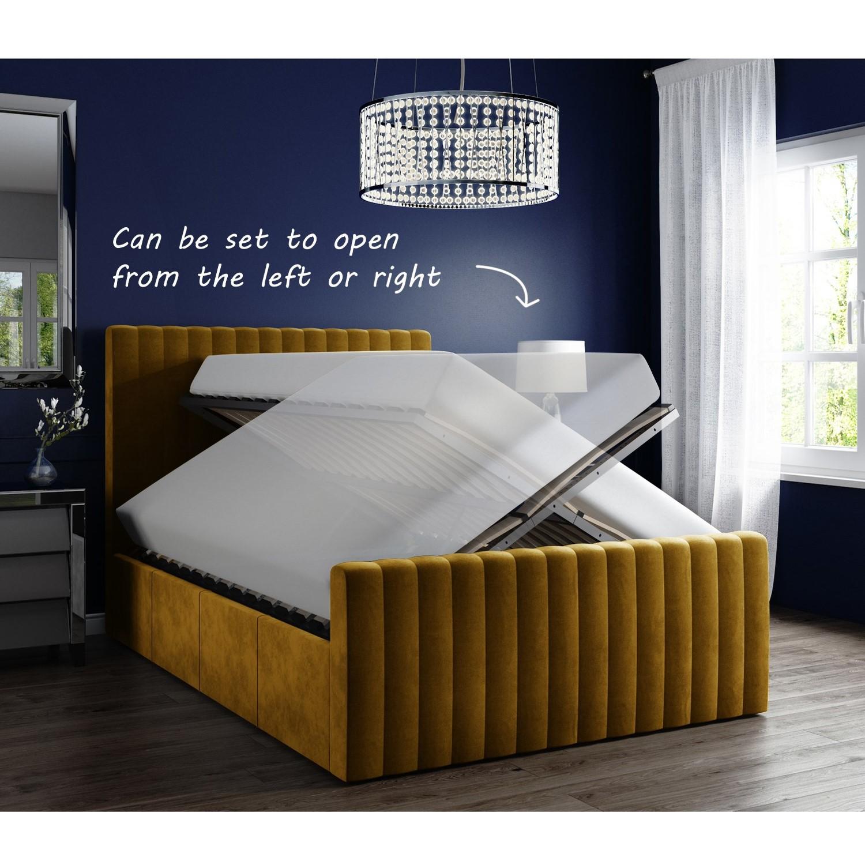Khloe Velvet King Size Ottoman Bed In Mustard Yellow Buyitdirect Ie