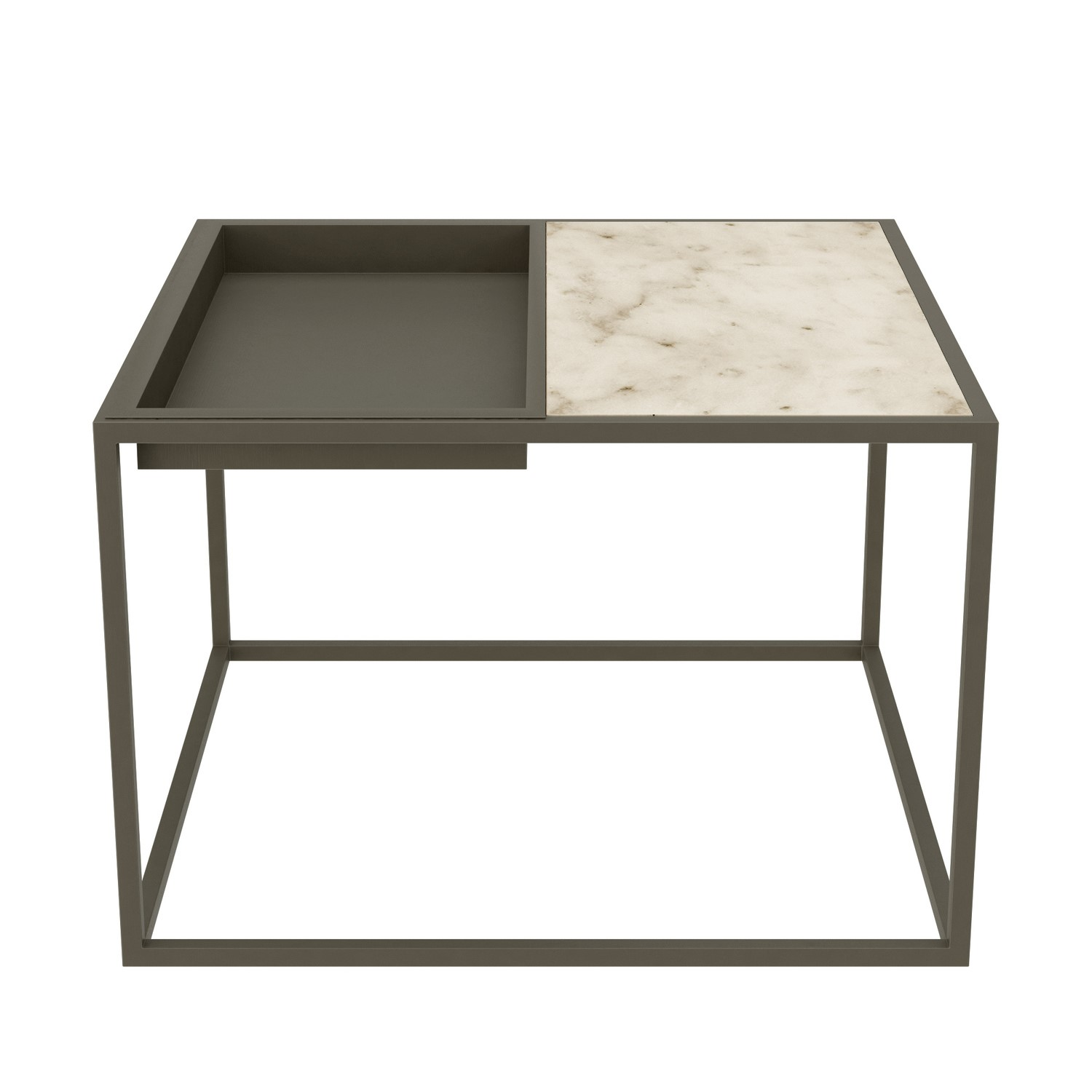 Square Grey Tray Coffee Table With White Marble Top Modern Buyitdirect Ie