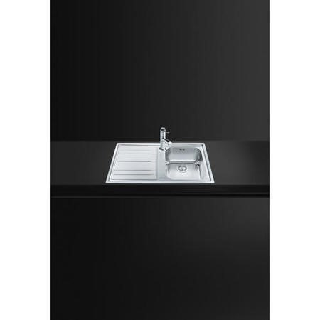 Smeg LE861S-2 Rigae 86cm Single Bowl Inset Stainless Steel Sink With Left Hand Drainer