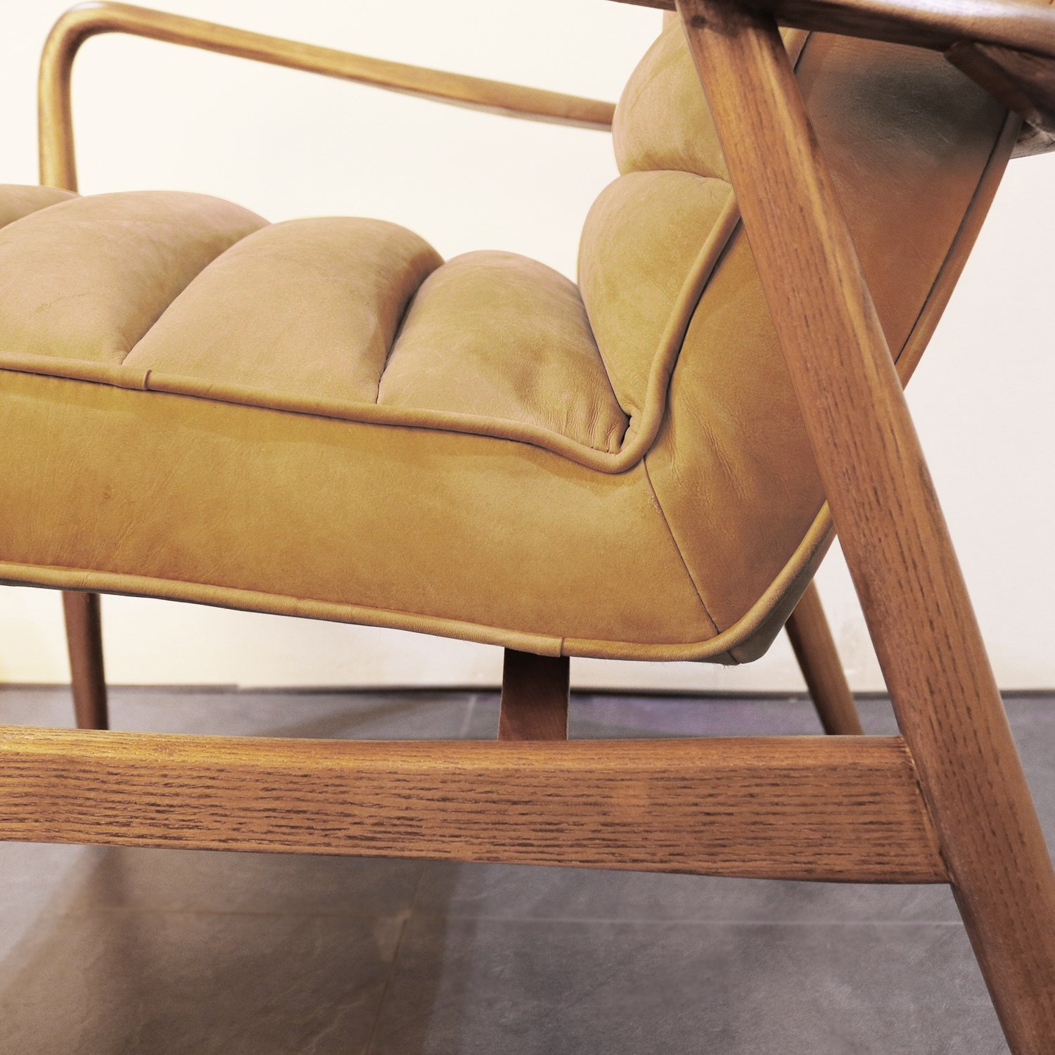 Shoreditch Mid Century Style Real Leather Armchair In Mustard Yellow Buyitdirect Ie