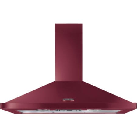 Rangemaster 110cm Chimney Cooker Hood Cranberry With Chrome Badge