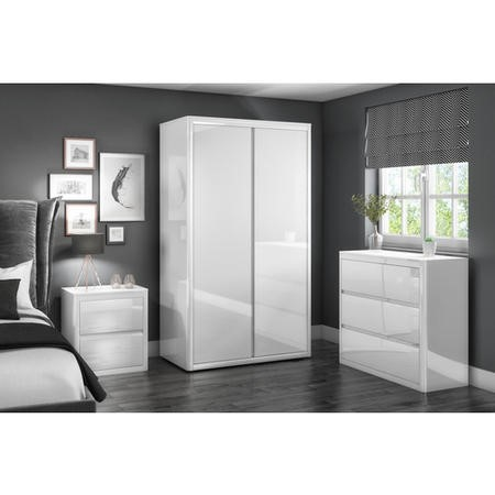Lexi White High Gloss 2 Drawer Bedside Table