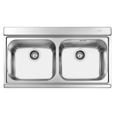 Smeg Iris Double Bowl Stainless Steel Chrome Kitchen Sink  with Glass Chopping Boards