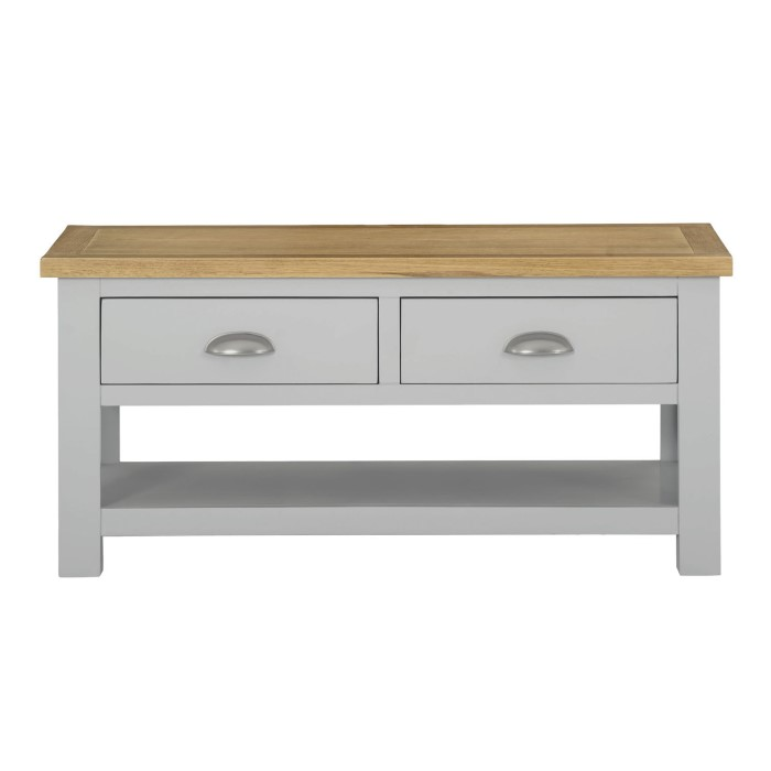 Linden 2 Drawer Coffee Table In Pale Grey And Light Oak Buy It Direct