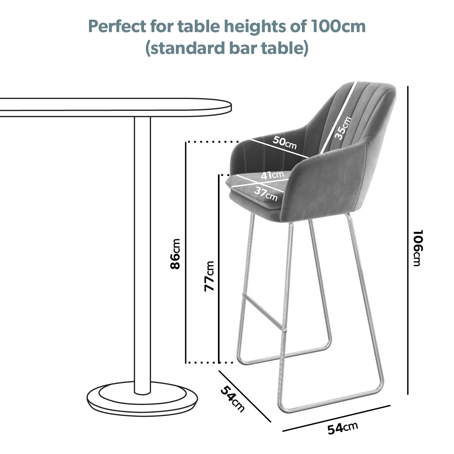 Picture of: Grey Velvet Tub Bar Stool With Chrome Legs Logan Buyitdirect Ie