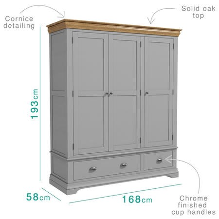 Loire Two Tone Triple Wardrobe in Grey and Oak
