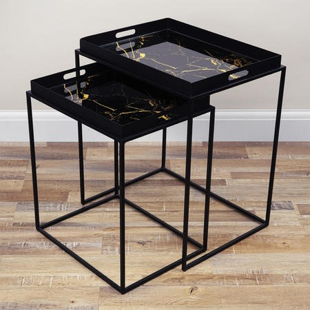Black Metal Tray Tables - Set of 2 - Lux