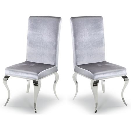 Louis Pair of Silver Velvet Dining Chairs- By Vida Living