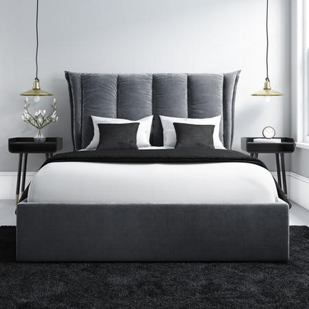 Admirable Maddox Double Ottoman Bed With Cushioned Headboard In Silver Grey Velvet Creativecarmelina Interior Chair Design Creativecarmelinacom