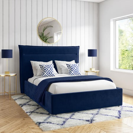 Maddox Navy Blue Velvet King Size Bed Frame with Cushioned Headboard