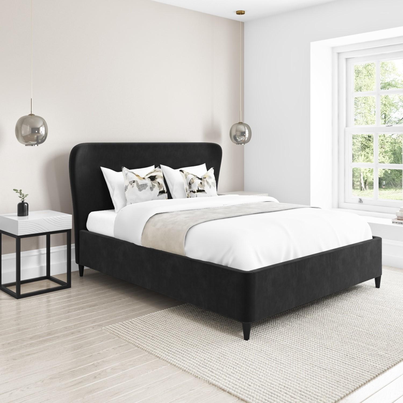 Margot Double Ottoman Bed With Curved Headboard In Dark Grey Velvet Buyitdirect Ie