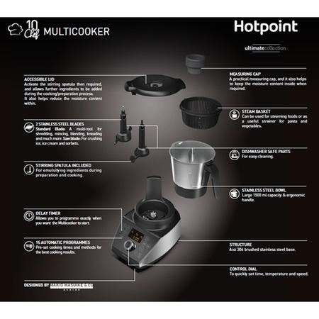 Hotpoint MC057CUM0UK Ultimate Collection 10Chef Multicooker Blender - Black