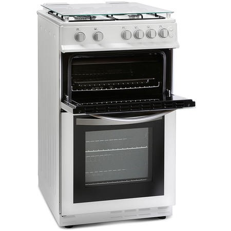 Montpellier MDG500LW 50cm Double Oven Gas Cooker With Lid White - LPG Jets Included
