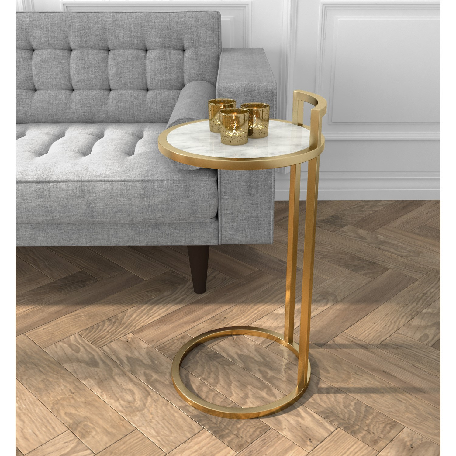 Gold Metal Side Table With White Marble Effect Top Buyitdirect Ie